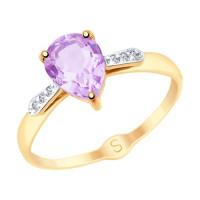 Золотое кольцо с аметистами и фианитами ДИ715274