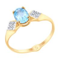 Золотое кольцо с топазами и фианитами ДИ715275