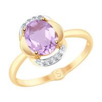 Золотое кольцо с аметистами и фианитами ДИ715279
