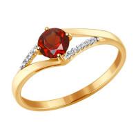 Золотое кольцо с гранатами и фианитами ДИ715281