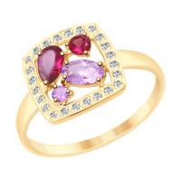 Золотое кольцо с родолитами, аметистами и фианитами
