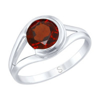 Серебряное кольцо с гранатами ДИ92011731