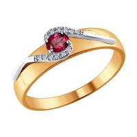Золотое кольцо с бриллиантами и рубиным ДИ4010600