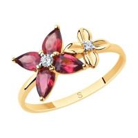 Золотое кольцо с родолитами и фианитами ДИ715657
