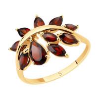 Золотое кольцо с гранатами ДИ715590