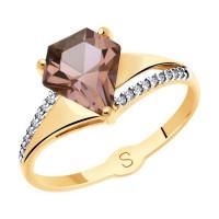 Золотое кольцо с ситалом и фианитами ДИ715556