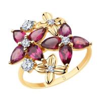 Золотое кольцо с родолитами и фианитами