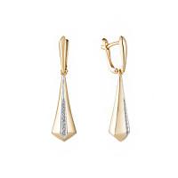 Золотые серьги подвесные с бриллиантами ИМС0593-320