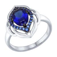 Серебряное кольцо с корундами сапфирами синтами и фианитами ДИ88010035