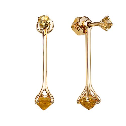Золотые серьги гвоздики с цитринами ЮИС120-5675цт