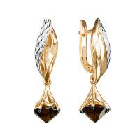 Золотые серьги подвесные с гранатами ЮИС1220-5676гр