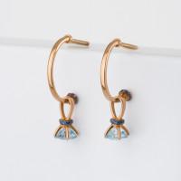 Золотые серьги подвесные с топазами и фианитами ЮИС125-5681т
