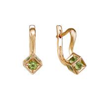 Золотые серьги с хризолитами ЮИС120-5677хр