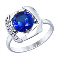 Серебряное кольцо с фианитами и корундами сапфирами ДИ88010054