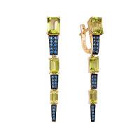 Золотые серьги подвесные с хризолитами и фианитами ЮИС124-5423М13