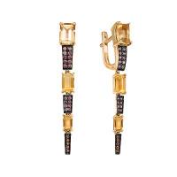 Золотые серьги подвесные с цитринами и фианитами ЮИС124-5423М21
