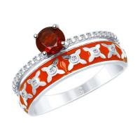 Серебряное кольцо с гранатами и фианитами ДИ92011610