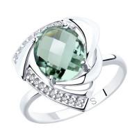 Серебряное кольцо с кварцем плавленым и фианитами ДИ92011772