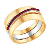 Золотое кольцо с рубинами ДИ4010628