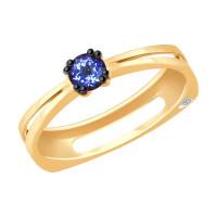 Золотое кольцо с танзанитом и бриллиантом ДИ6014065