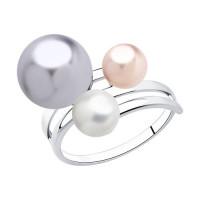 Серебряное кольцо с жемчугом Swarovski  ДИ94013044