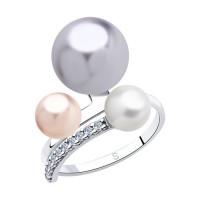 Серебряное кольцо с жемчугом Swarovski  и фианитами ДИ94013045