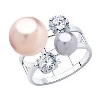 Серебряное кольцо с фианитами и жемчугом Swarovski  ДИ94013049