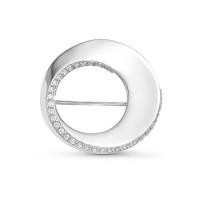 Серебряная брошь с фианитами ДП060125С