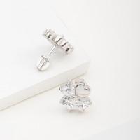 Серебряные серьги гвоздики с фианитами 6В12-0133