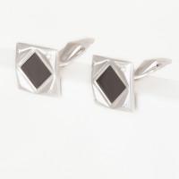 Серебряные запонки с фианитами ДПС660044