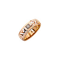Золотое кольцо обручальное с эмалью