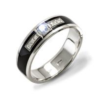 Золотое кольцо обручальное с эмалью и бриллиантами ШЛКЭЧ-03/1