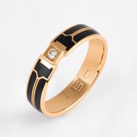 Золотое кольцо обручальное с эмалью и бриллиантом ШЛКЭЧ-04/1