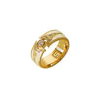 Золотое кольцо обручальное с бриллиантами и эмалью ШЛКЭЧ-1703/1