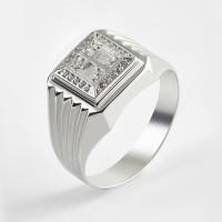 Серебряная печатка с фианитами 2ИС040600