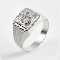 Серебряная печатка с фианитами 2ИС040608