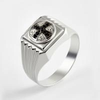 Серебряная печатка с фианитами 2ИС040608-5