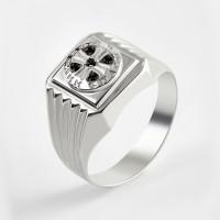Серебряная печатка с фианитами 2ИС040610-5