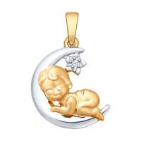 Золотая подвеска с бриллиантом ДИ1030593