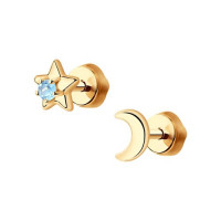 Золотые серьги гвоздики с топазами ДИ726891