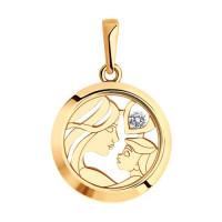 Золотая подвеска с сваровски и стеклом ДИ035824