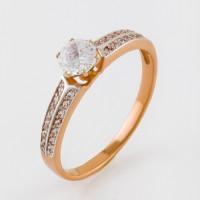 Золотое кольцо с фианитами 2И110428
