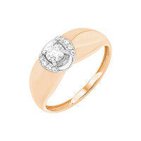 Золотое кольцо с фианитами и сваровски