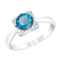 Серебряное кольцо с топазами и фианитами ДИ92011689