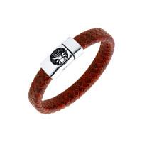 Мужской браслет из кожи, вставки из стали ЧДЕ58401