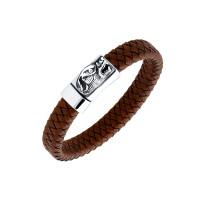 Мужской браслет из кожи, вставки из стали ЧДЕ58392