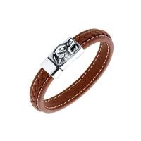 Мужской браслет из кожи, вставки из стали ЧДЕ58393