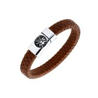 Мужской браслет из кожи, вставки из стали ЧДЕ58398