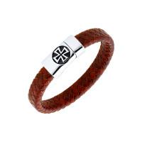 Мужской браслет из кожи, вставки из стали ЧДЕ58437