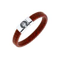 Мужской браслет из кожи, вставки из стали